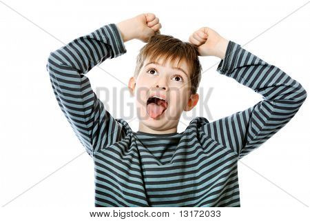 Educational theme: shouting boy teenager. Isolated over white background.