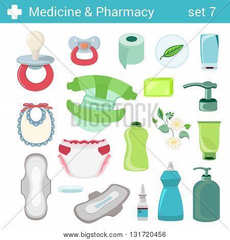Flat style baby care motherhood nursery icon set. Medicine pharmacy collection.