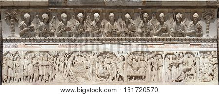 PISA, ITALY - JUNE 06, 2015: Baptistery decoration architrave arches busts Jesus Christ angels saints figures episodes life St John the Baptist, Cathedral in Pisa, Italy, on June 06, 2015