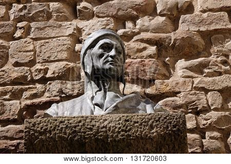 FLORENCE, ITALY - JUNE 05: A bust of Dante Alighieri in Florence, Italy, on June 05, 2015