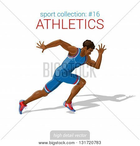 Sportsmen vector collection. Runner black man athlete sprinter. Sportsman high detail illustration.