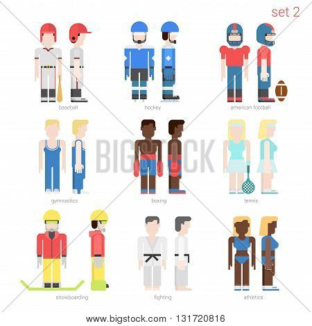 Flat style sportsmen people vector icon set. Baseball batter, hockey, football, tennis player, boxer, skateboarder, karate fighter, athlete. Flat sportsman people collection.