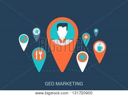 Flat vector internet geo gps map marketing targeting concept