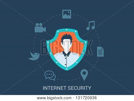 Flat style design vector illustration internet online security concept