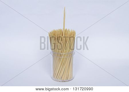 Toothpick on isolated white background , bamboo