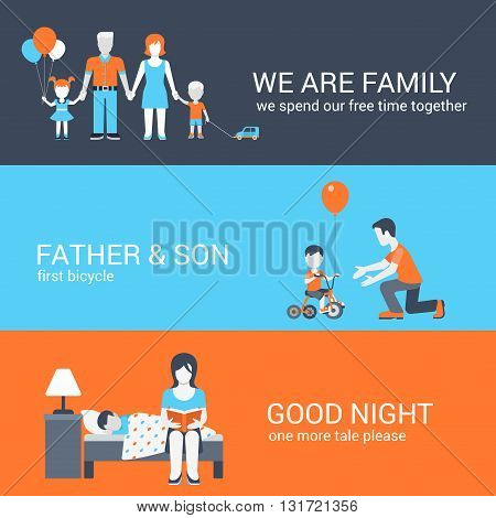 Family parenting people concept flat icons set parents boy girl