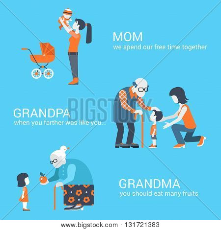 Family parents children kids people concept flat icons set