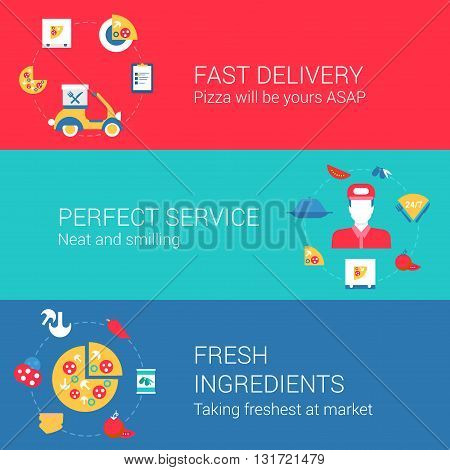 Pizza cook and delivery infographics concept flat icons set
