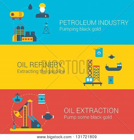 Oil power infographics concept flat icons set petroleum industry