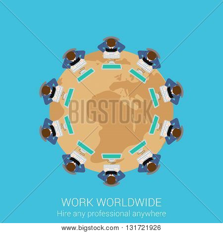 Global remote corporate work concept flat icon
