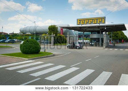 MARANELLO ITALY - MAY 20: New entrance to Ferrari factory on may 20th 2016. Part of the new Ferrari compound it includes the wind tunnel designed by archistar Renzo Piano.