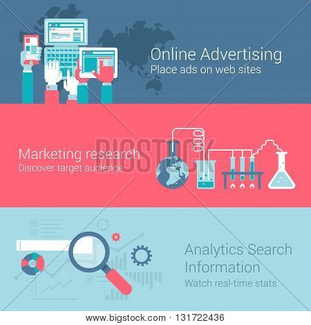 Online marketing advertisement infographics flat icons set