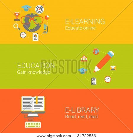 Online education concept flat icons set e-learning knowledge