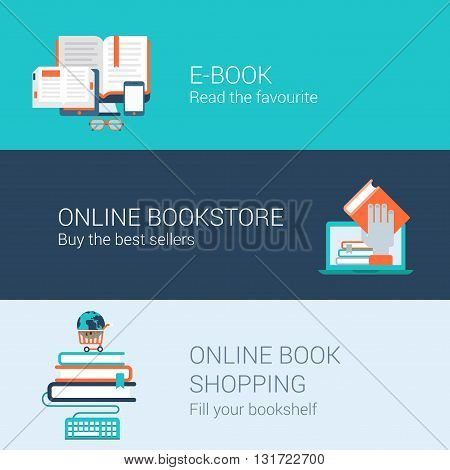 Online books concept flat icons set e-book online bookstore