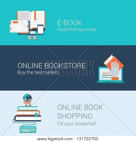 Online books concept flat icons set e-book online bookstore