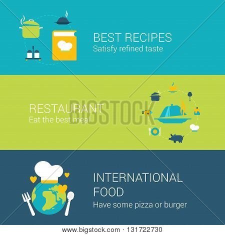 Restaurant infographics banners concept flat icons set recipe