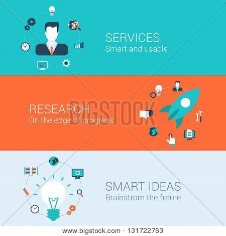 Business research idea infographics concept flat icons set