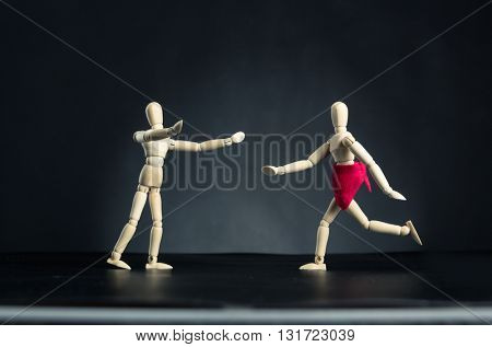Woman running to man