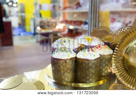 Easter cakes on the shelf