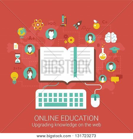 Modern flat design concept for online education and vector web banners illustration print materials website click infographics elements collection.