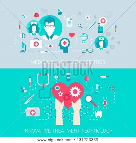 Medicine pharmaceutics modern technology treatment concept flat icons set of  process collage and vector web banners illustration print materials website click infographics elements collection.