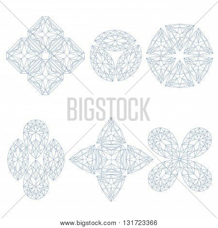 Set of geometrical emblems made of line art crystals