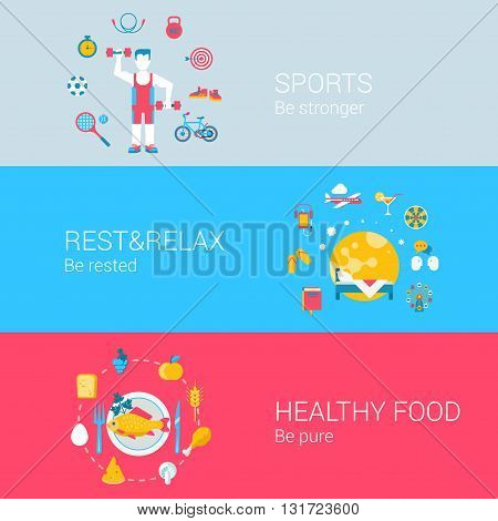 Sports healthy fresh food rest relax concept flat icons set of be stronger rested pure and vector web banners illustration print materials website click infographics elements collection.