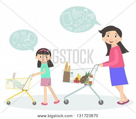 Family shopping together. Mom and daughter with supermarket trolley. Shopping with kid. People in shopping mall supermarket grocery shop icons. Lifestyle situations icons.