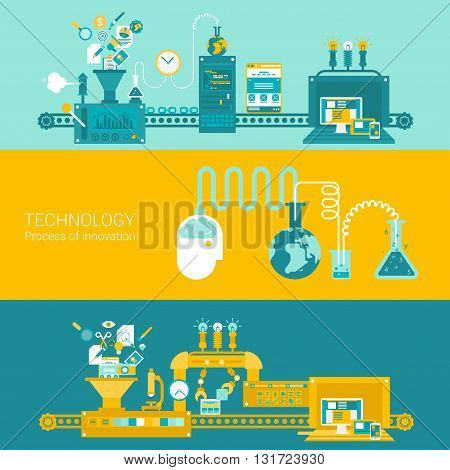 Process factory technology plant concept flat icons and vector web banners illustration print materials website click infographics elements collection.