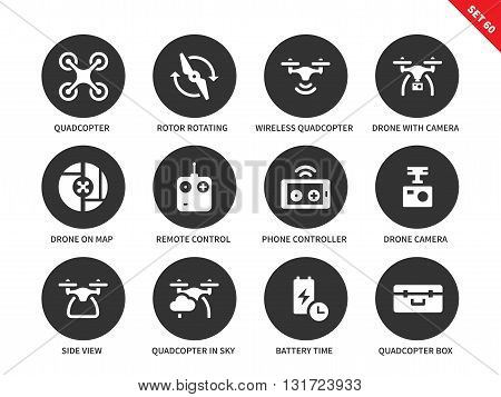 Flying drone vector icons set. Components and equipment for quadrocopter, technology items, quadrocopters, drones, remote control, camera and phone. Isolated on white background