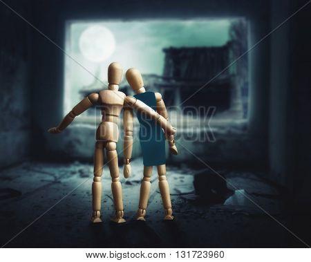 Wooden figures of couple