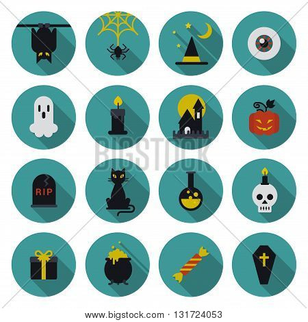 Halloween flat icon set longshadow modern style creative design template collection. Bat spider wizard skull pumpkin cat poison grave eye gift box candle coffin.
