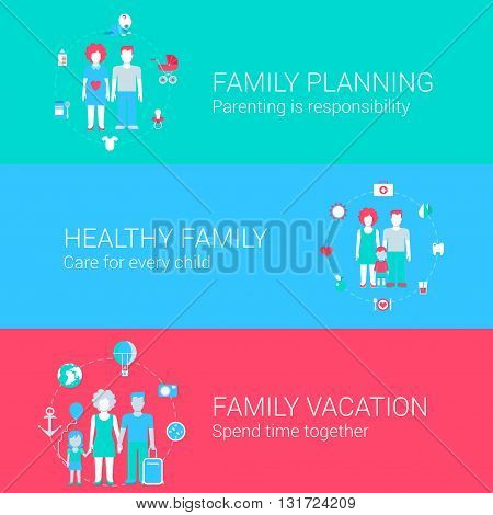 Family concept flat icons set of planning parenting health care child vacation and vector web banners illustration print materials website click infographics elements collection.