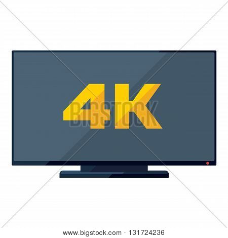 TV flat icon with golden 4k sign