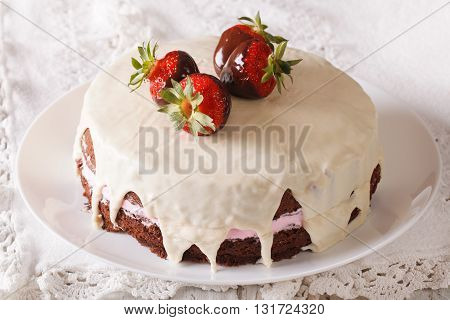 Cake Decorated With Fresh Strawberries In Chocolate Closeup. Horizontal