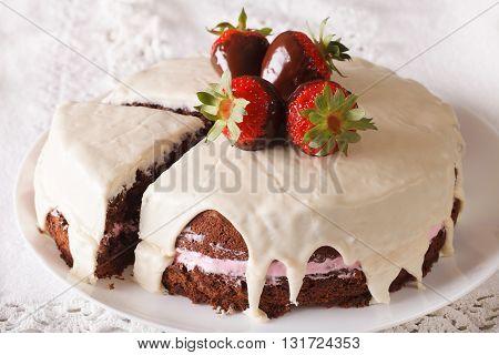 Tasty White Chocolate Cake With Fresh Strawberries Close-up. Horizontal