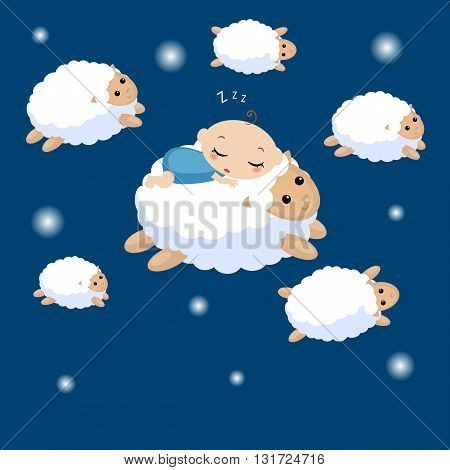 Vector illustration of a baby sleeping on the lamb. Sheep running across the sky.