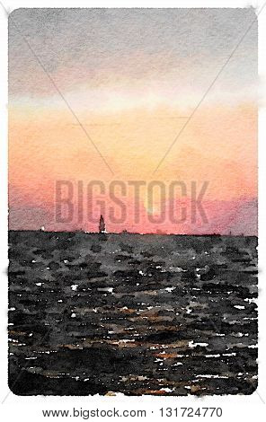 Digital watercolour painting of a sailboat sailing into the sunset leaving Calais in France and heading to England.