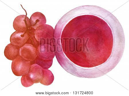 A watercolor drawing of a glass of red wine with a branch of grapes an overhead view hand painted in watercolor on white background enhanced with a vibrant texture