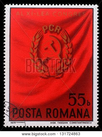 ZAGREB, CROATIA - JULY 19: a stamp printed in Romania shows 11th Romanian Communist Party Congress, circa 1974, on July 19, 2012, Zagreb, Croatia