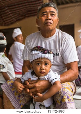 UBUD, BALI - MAR 8, 2016: Unidentified people during the celebration Nyepi - Balinese Day of Silence. Day Nyepi is also celebrated as New Year - according Balinese calendar now came 1938 year.