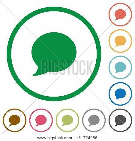 Set of blog comment color round outlined flat icons on white background