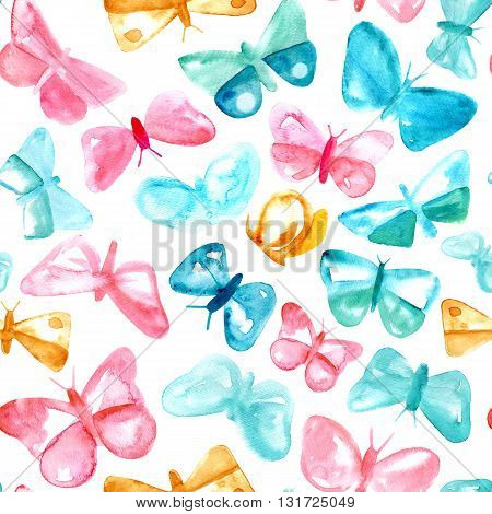 A seamless background pattern with tender pink and teal blue abstract watercolor butterflies