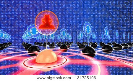 Network made of black spheres with one red infected node connected to a hacker symbol on a random blue letter background 3D illustration