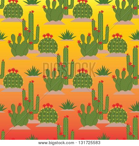 Seamless pattern from  green flowering cactuses with red flowers on the yellow and orange gradient background. (Can be repeated and scaled in any size.)