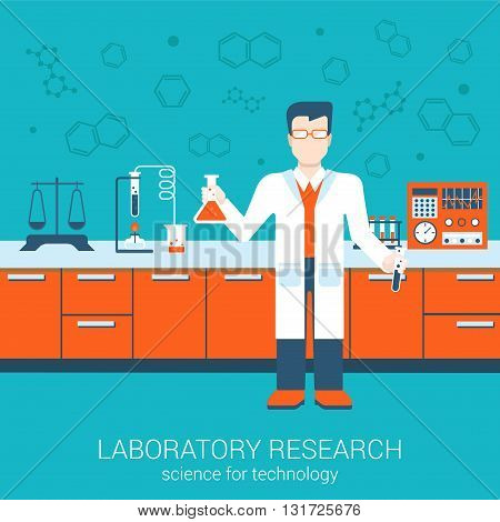 Flat style vector illustration laboratory infographics concept