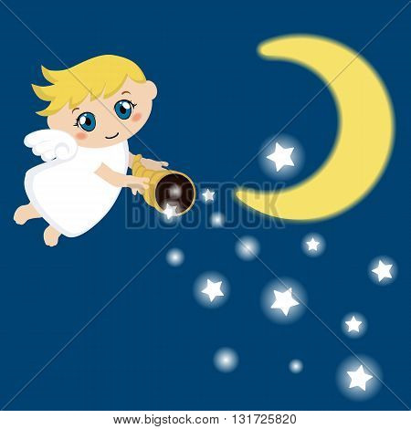 Little angel with stars and cloud. Cartoon vector illustration.