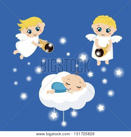 Cute angels with stars and baby sleeping on the cloud