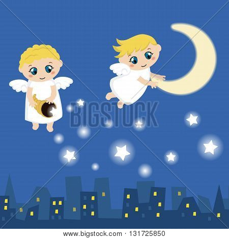 Little angels with stars and moon. Cartoon vector illustration.