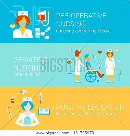 Nursing medical flat banners template set vector infographics